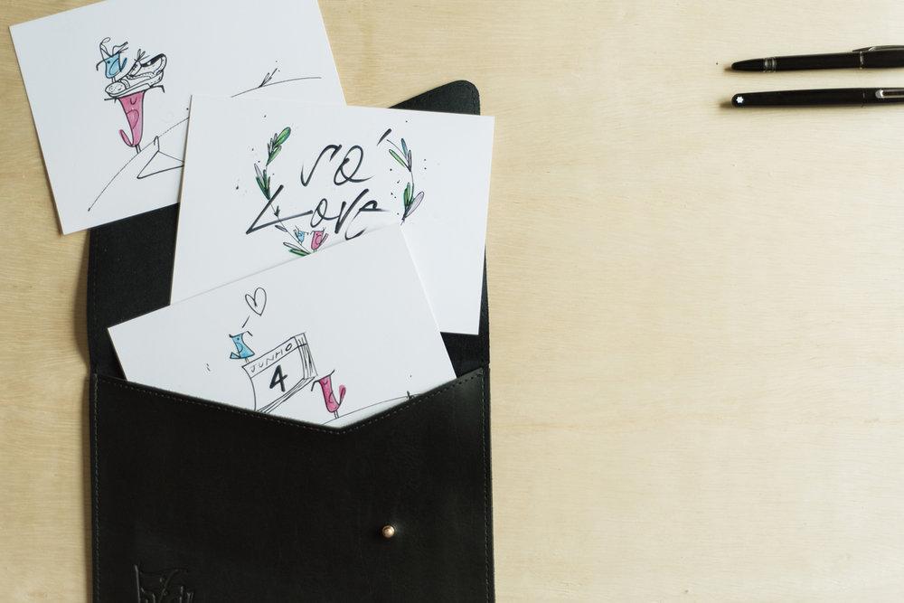 - Neste processo, crio numa identidade completa e complexa, um set de letras exclusivas que vai dar origem ao convite em si, aos envelopes subscritos um a um e à outros materiais.