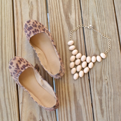 leopard flats and bauble necklace