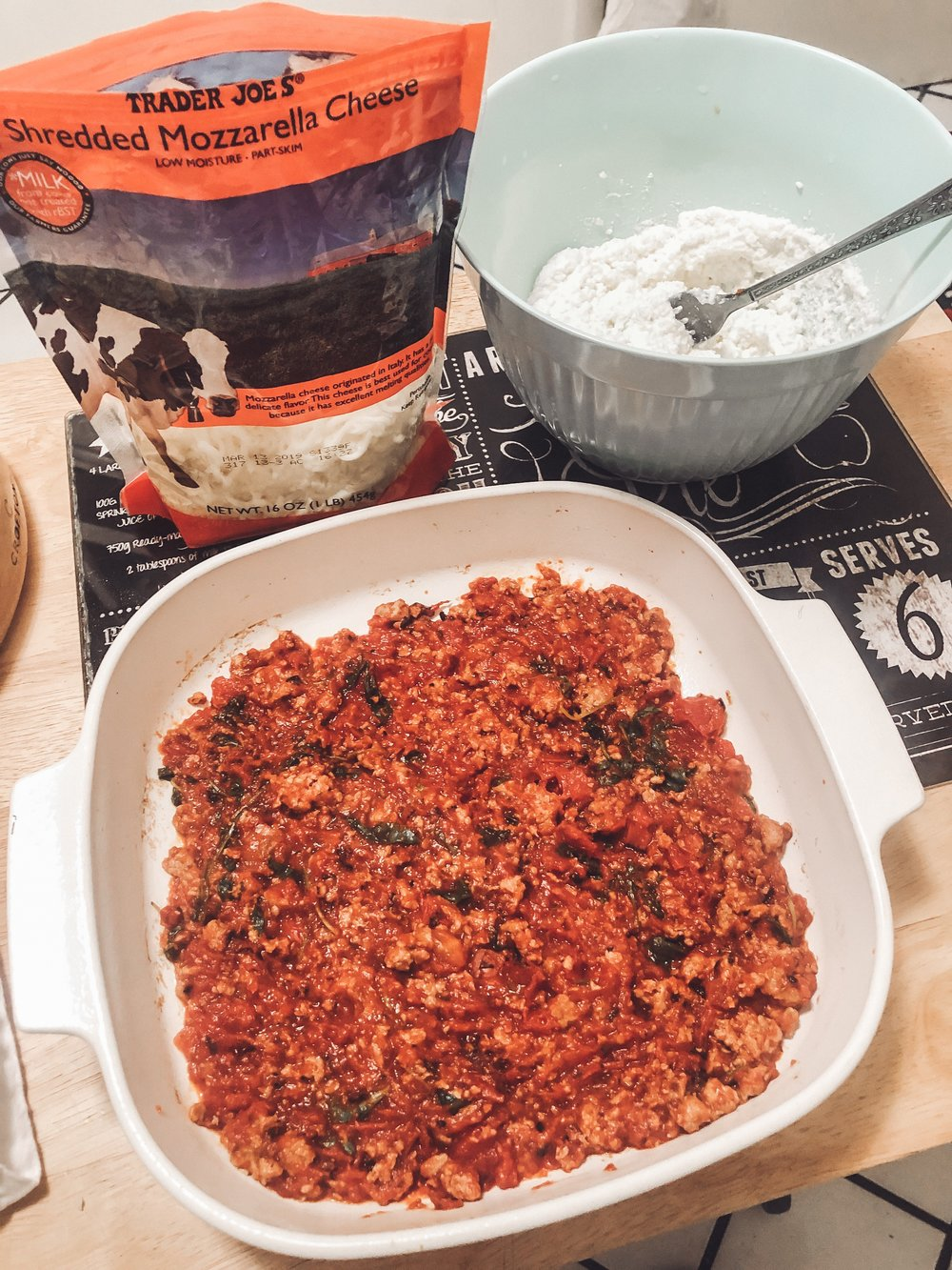 Layer 1, turkey ground meat sauce. I added spinach to my tomato sauce.