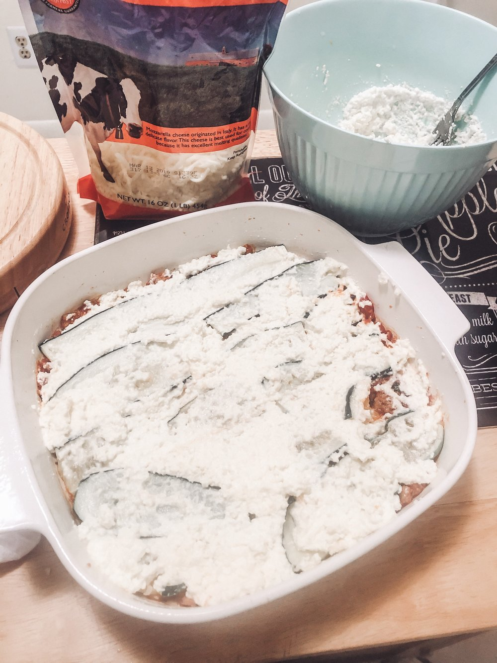 Layer 3, ricotta cheese mixture.