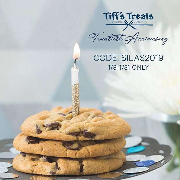 All January, Tiff's Treats will be celebrating their 20th anniversary, and we've been selected to take part in a charity competition! We need your help! If you use code SILAS2019 during checkout at www.cookiedelivery.com, 10% of each sale made using our code will be donated to our organization. Other groups will be receiving their own unique Tiff's Treats codes as well. At the end of January, the charity with the highest sales will also receive a $20,000 donation! So please use our code and order cookies all January long for a cause! Happy 20th anniversary, Tiff's Treats!