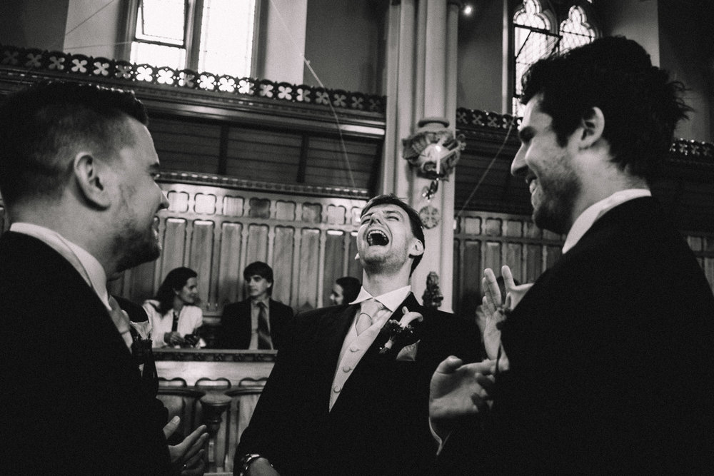 Natural Wedding Photograph South Wales black and white groom prep