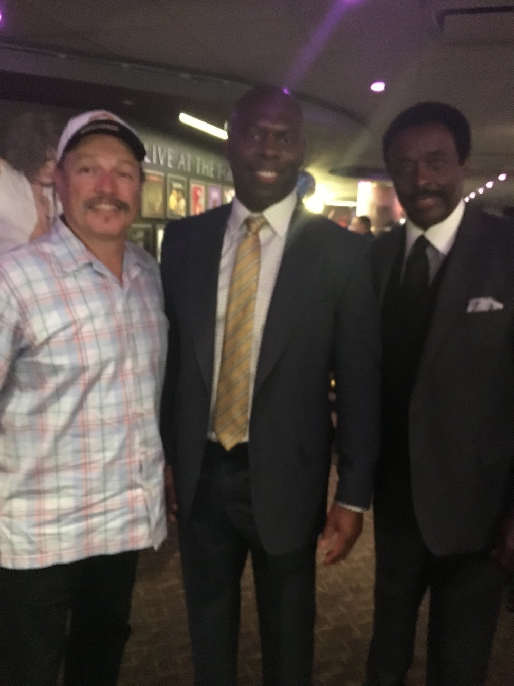 Tony with San Diego Chargers coach Anthony Lynn and CBS newscaster Jim Hill