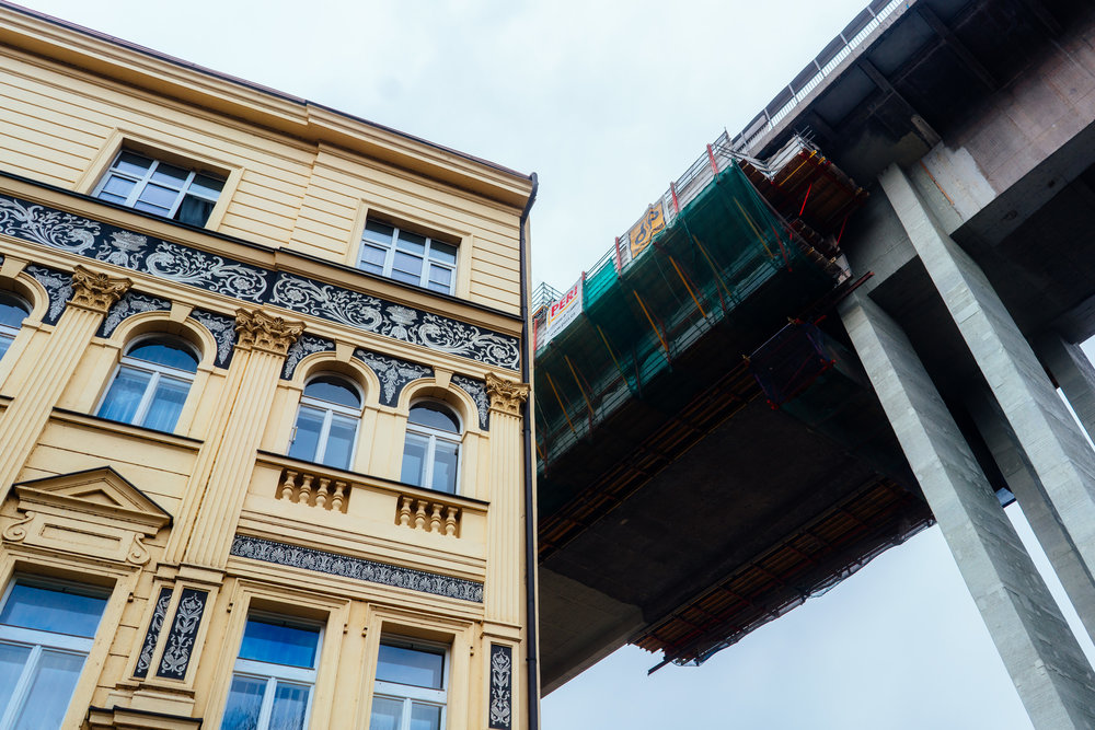 a bypass crosses into a building in Prague