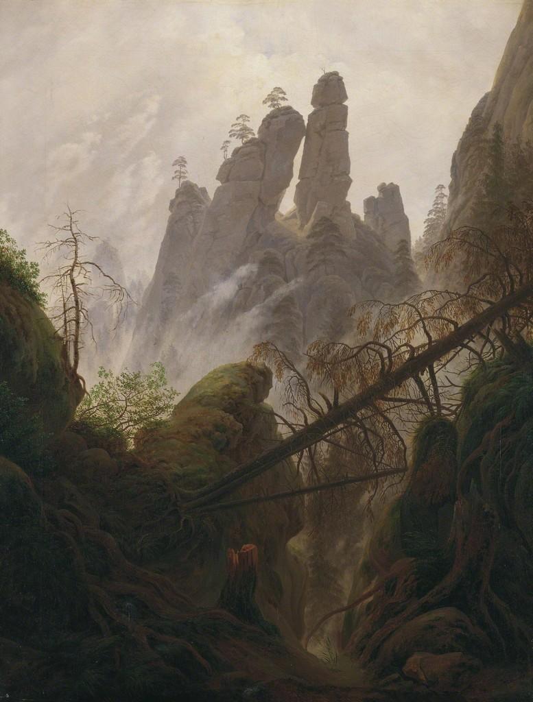 Felsenpartie im Elbsandsteingebirge (Rocky Landscape in the Elbe Sandstone Mountains, 1822)'