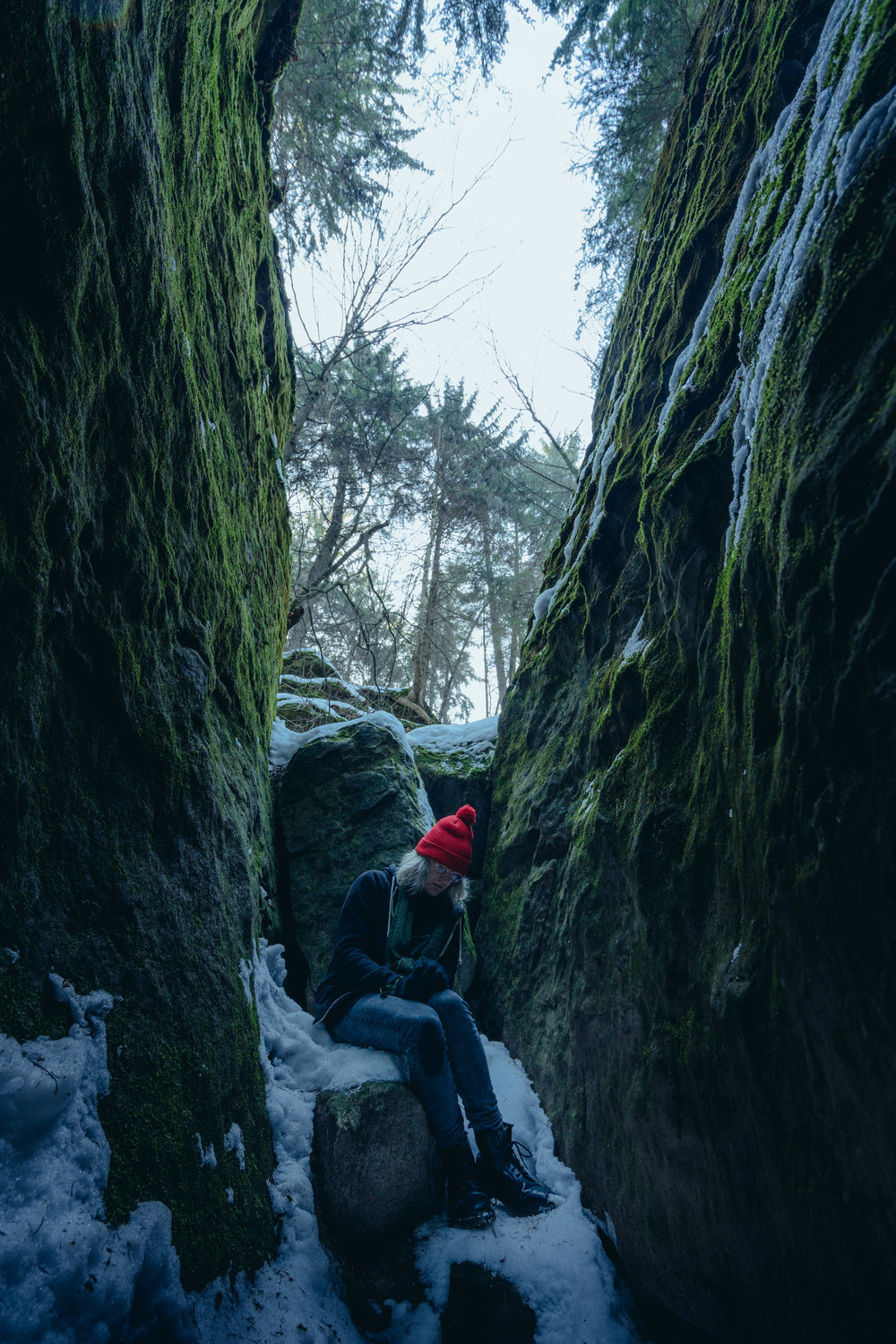 Hiking alone, cowering in rocks, Saxon Switzerland National Park