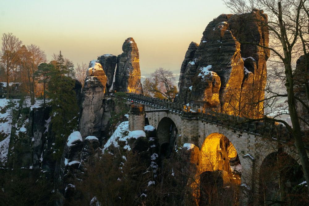 A self-portrait on a 200 hundred year old bridge in Saxon Switzerland National Park
