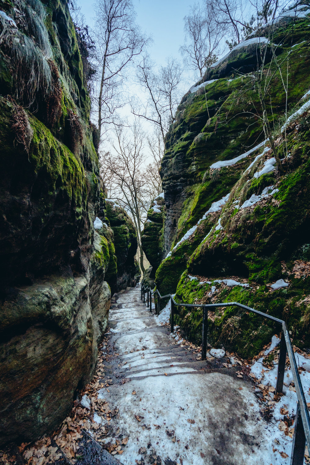 An inhospitable icy staircase, Saxon Switzerland National Park