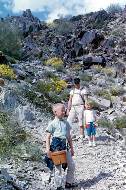 Me, Karl Woodman, family friend and probably my first musical influence, and his daughter Janet at North Mountain, Phoenix,