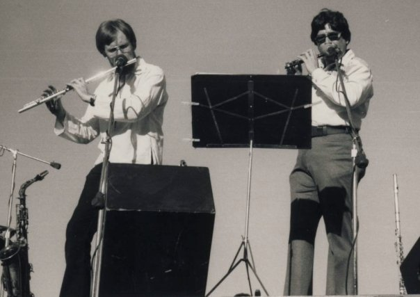 I took private jazz improvisation lessons from saxophonist Frank Smith (left) in 1975. Joe Corral (right) played flute in the Phoenix Symphony, and in the Charles Lewis Quintet + One with Frank. I later subbed for Frank sometimes in this group. Photo by Allan Chase.