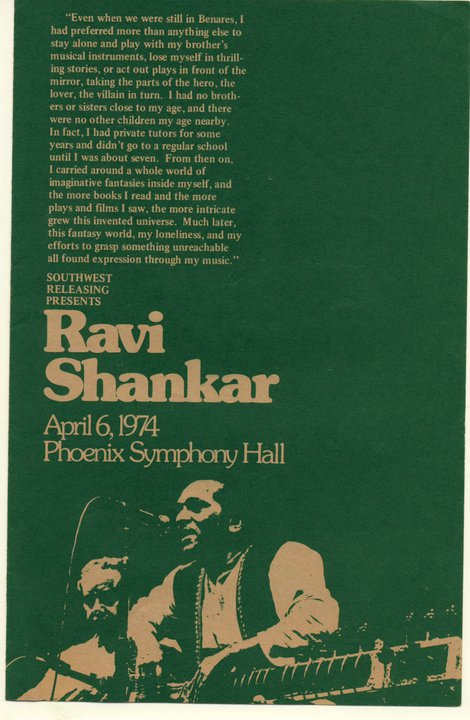 I'd been listening to Ravi Shankar since I got The Genius of Ravi Shankar LP for Christmas when I was about 11 years old. I was interested then because of the Beatles. This concert with Alla Rakha on tabla is still what i remember as the greatest concert I ever heard.