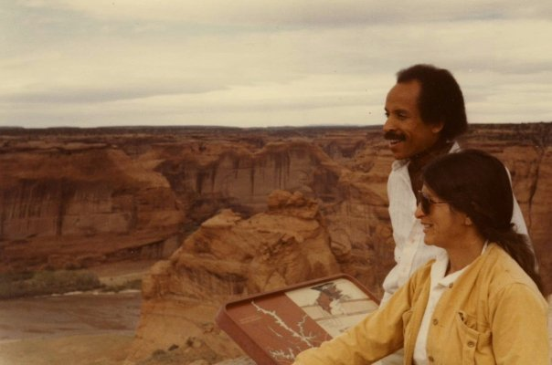 Charles Lewis and Jane, Window Rock HS art teacher, at Canyon de Chelly on our tour to College of Ganado on hte Navajo reservation, 4.25.79. Photo by Allan Chase.