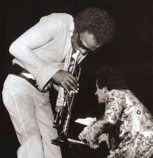 Miles Davis and Keith Jarrett in 1970 or '71, around the time I saw them in Phoenix.