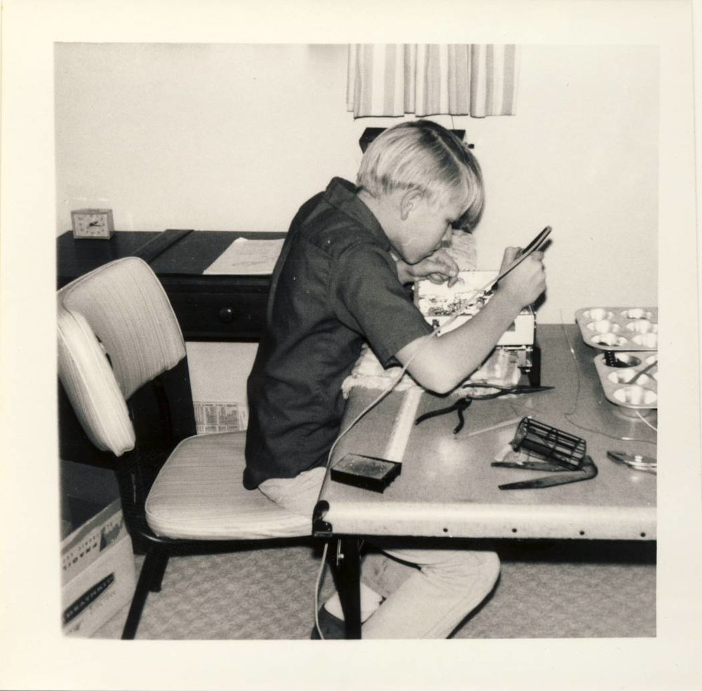 Building a Heathkit shortwave radio in my room, December 1968.