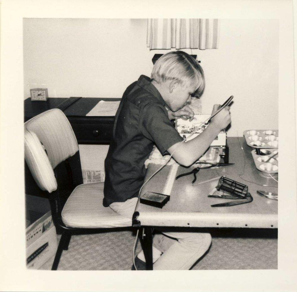 Building a Heathkit shortwave radio in my room, December 1968.