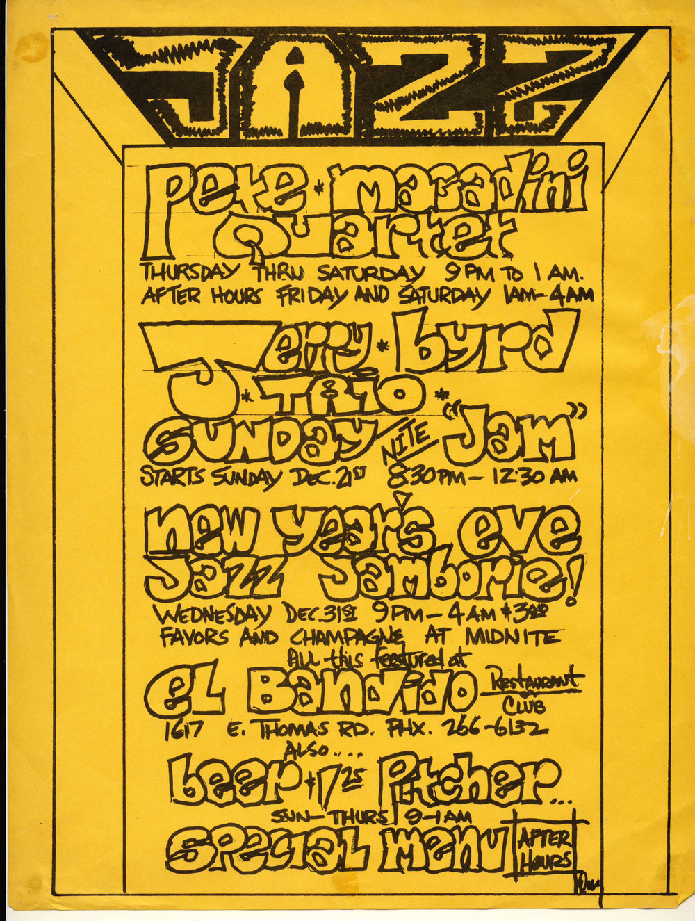 December 1975 flyer for El Bandido. Prince Shell was the pianist in the Pete Magadini Quartet.