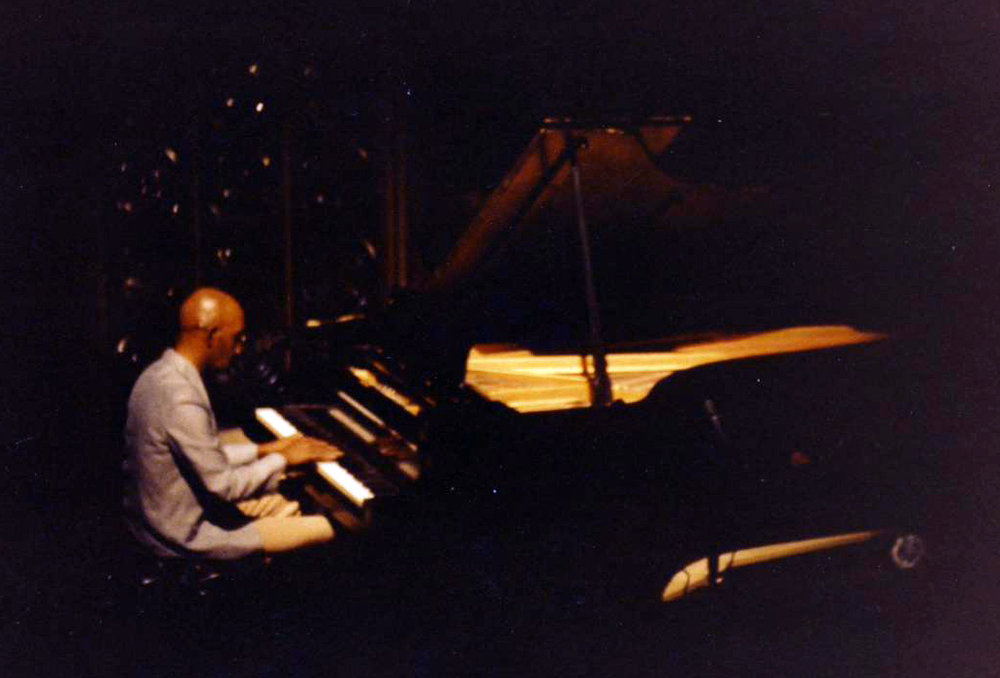 """Prince Shell playing his solo piano set at a concert produced by Lewis Nash and Allan Chase, """"An Evening of Creative Improvised Music,"""" ASU Music Theater, Tempe AZ, 1.21.80."""