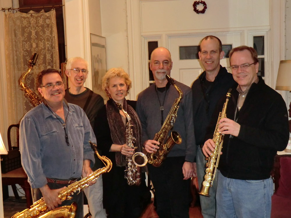 YNSQ Reunion Concert rehearsal, for our concert at First Congregational Church, Cambridge MA, 4.10.11. L to R: Danny Bittker, Joel Springer, Cercie Miller, Steve Adams, Tom Hall, Allan Chase. Douglas Yates joined us the next night at The Stone in New York City.