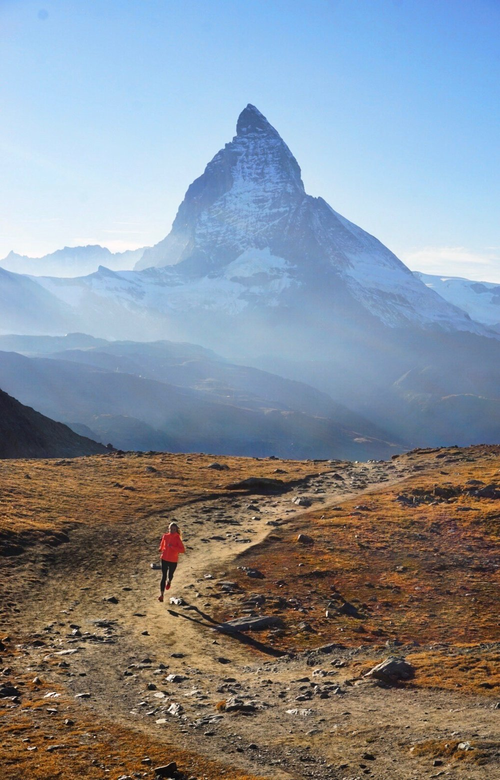 Running near the Matterhorn, Switzerland