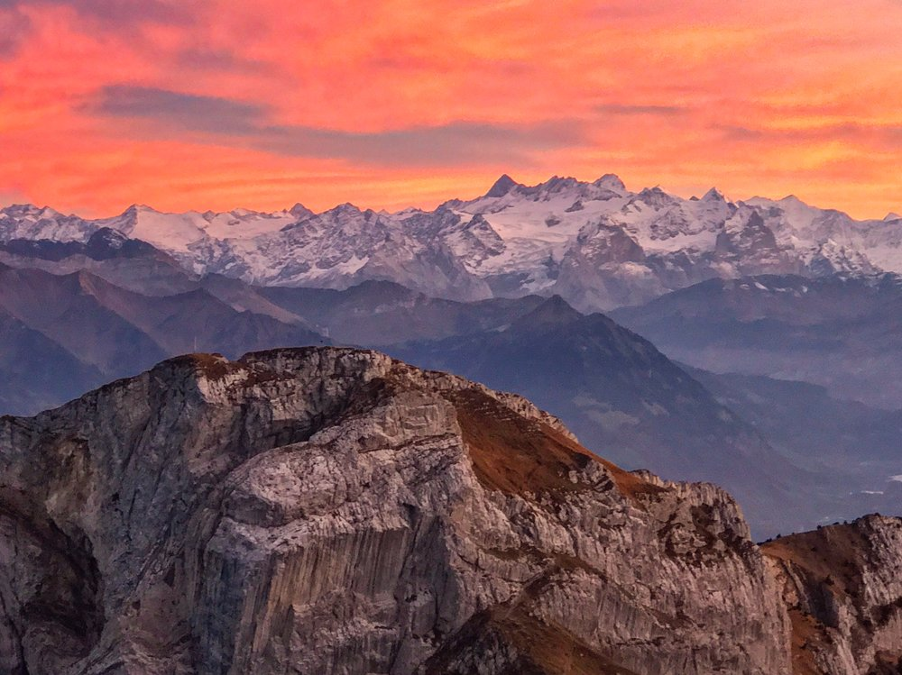 The most magnificent sunset on top of Mt Pilatus