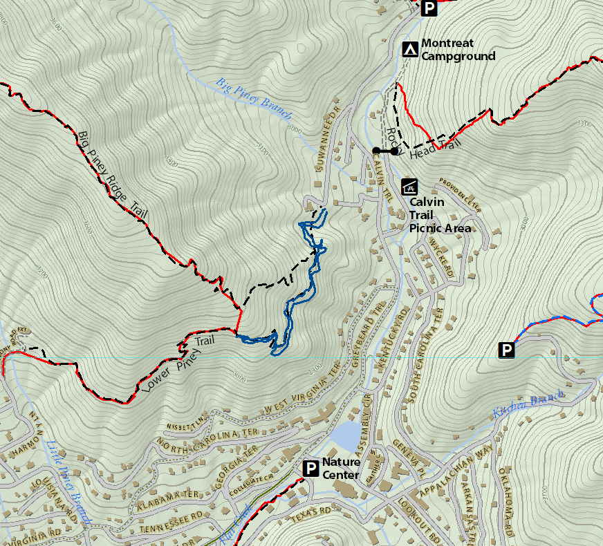 Black Mountain NC Montreat Trail System Pisgah Map Co - Check off map