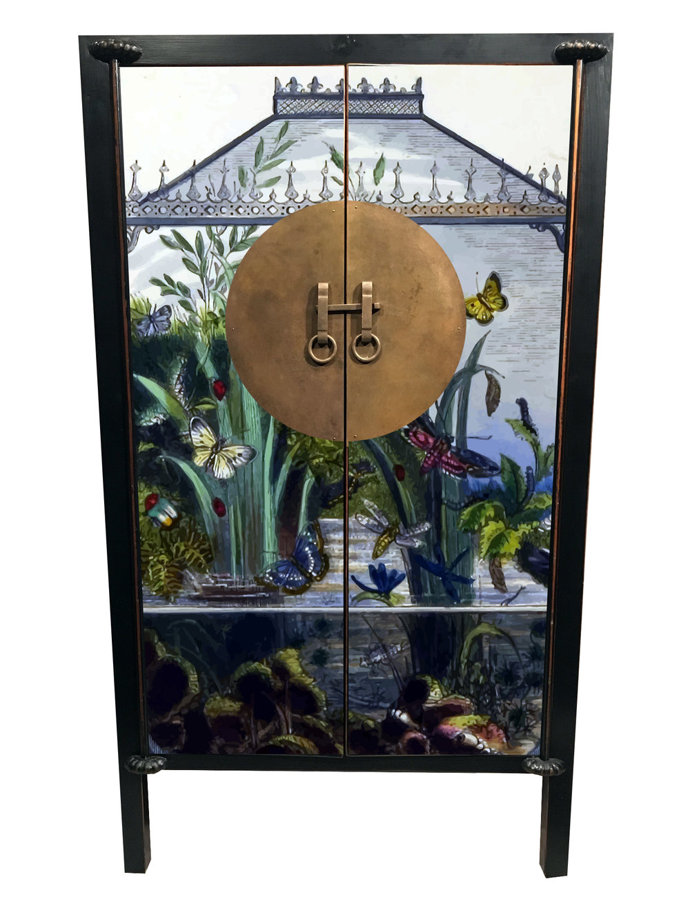 #3. BOTANICAL - The perfect entryway chifferobe that holds your sun hats, driving gloves, and wellies.A rare botanical old-world illustration celebrating butterflies, growing reeds and underwater life. It is a statement piece that won't go unnoticed. We see a Pitch Black interior and exterior with a Hague Blue accent wall on the inside.
