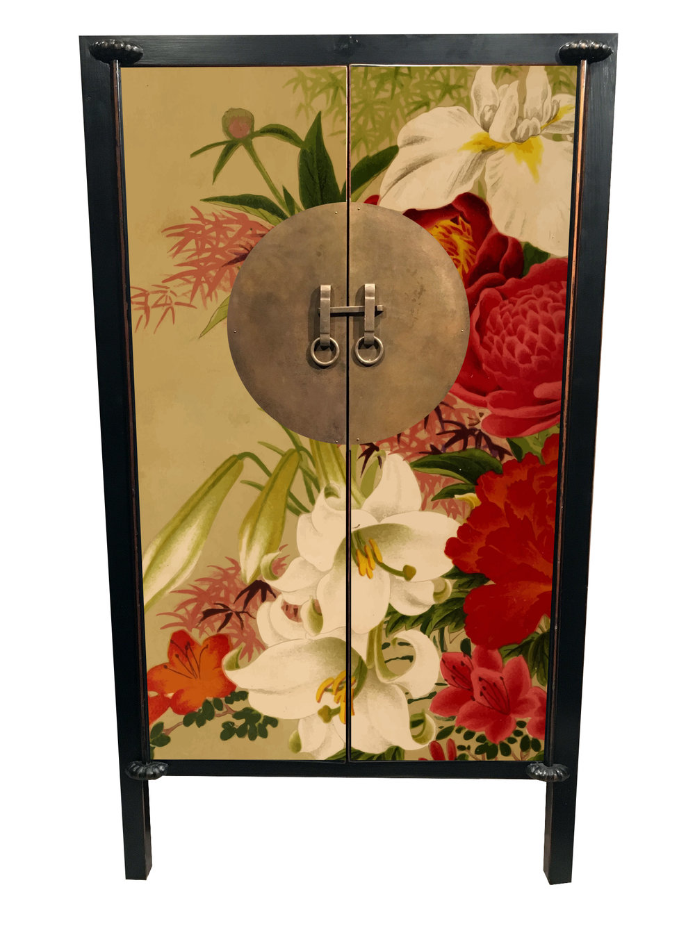 #2 ASIAN INFLUENCE - A cabinet for any room of the house -- to have and to hold all your prized possessions.Flowers galore. An Asian influenced burst of flora. This piece screams Pitch Black on the outside and inside with a Rectory Red interior back wall.