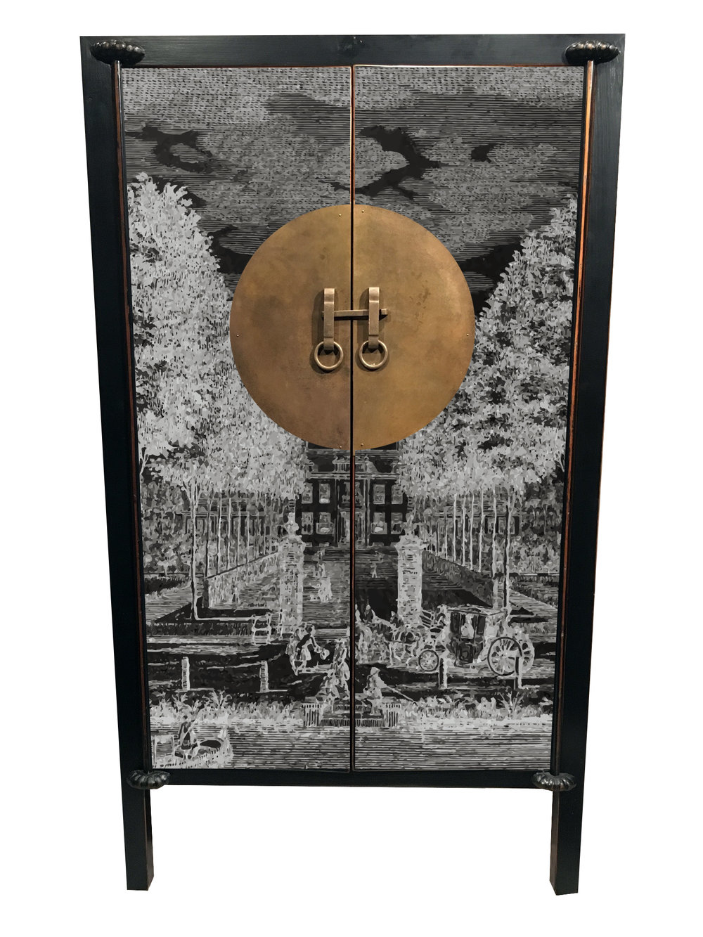 #1. FRENCH GRISAILLE - Cognac and Grand Marnier come to mind when opening up this liquor cabinet.A modern rendition of a Grisaille design on the front door panels. We envision a full gloss Pitch Black or All White inside and out. With Down Pipe Grey lining the inside back wall.
