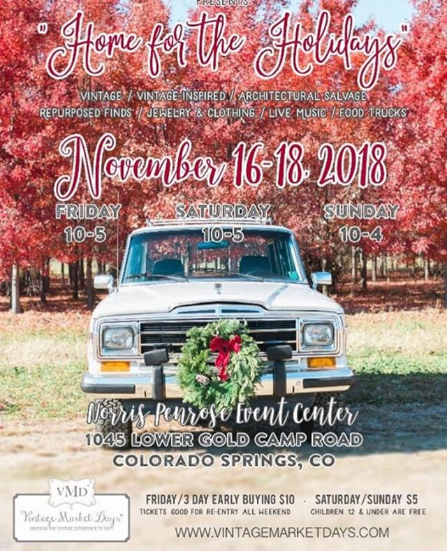 Come Join Us This Weekend at Vintage Market Days, Norris Penrose Event Center, Colorado Springs. Enjoy Shopping Bliss, Entertainment, and Food Trucks. #vavabode #vintagemarketdays #holidaygifts #coloradosprings #holidaycoloradosprings #shoppersparadise