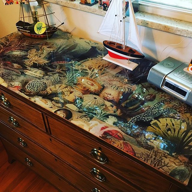 The Sea Life dresser has found a wonderful home! #vavabode #artglass #upcycledfurniture