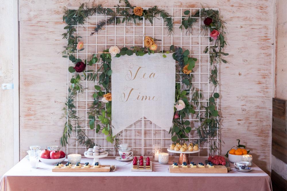bridal tea party backdrop via crush co.