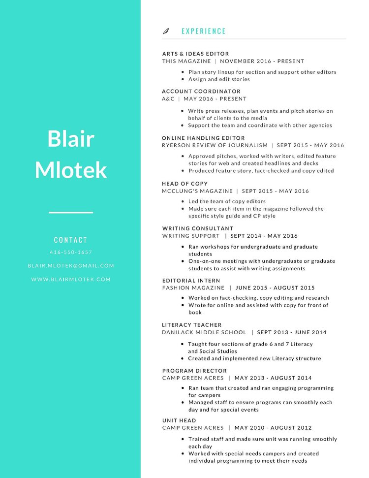 Resume — Blair Mlotek