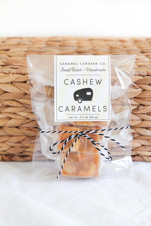 cashew caramels in clear bag
