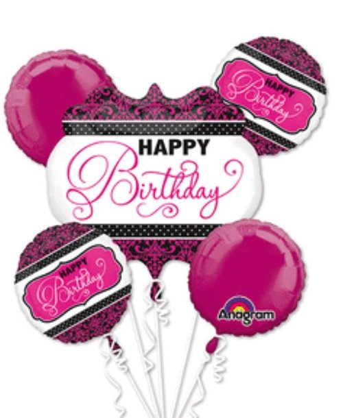 Happy Birthday Black And Pink Bouquet