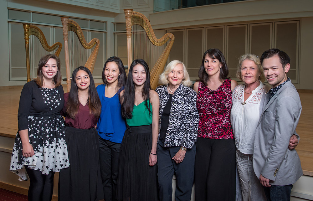 5th Composition Contest Composer's Forum (left to right):  Jasmine Hogan, Thea Kammerling, Melody Swen, Peggy Houng, Susann McDonald [USAIHC Artistic Director], Sonja inglefield [Contest Secretary], Willy postma [Prize sponsor], Jeremiah Siochi [Contest winner].