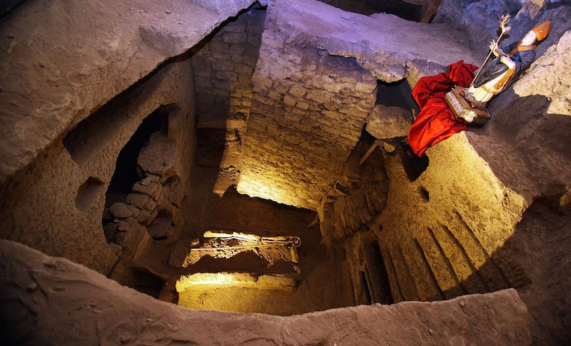 The tomb of San Gennaro, seen from above, in the Catacombs of San Gennaro in Naples