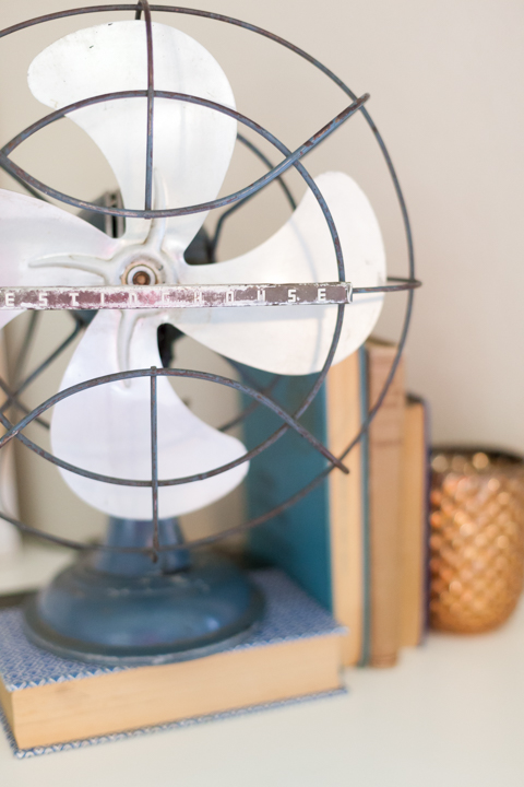 vintage fan with books, vintage decor,
