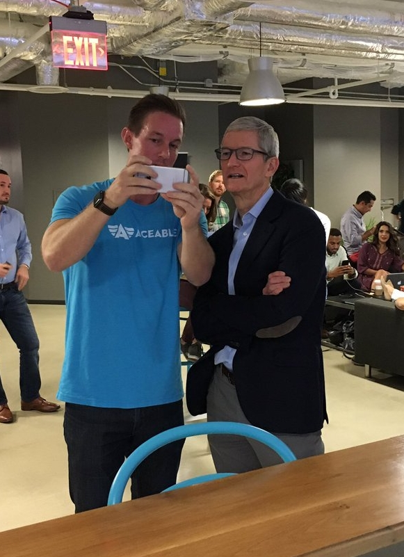 (Aceable CEO and Founder Blake Garrett demoing to Apple CEO TIme Cook)