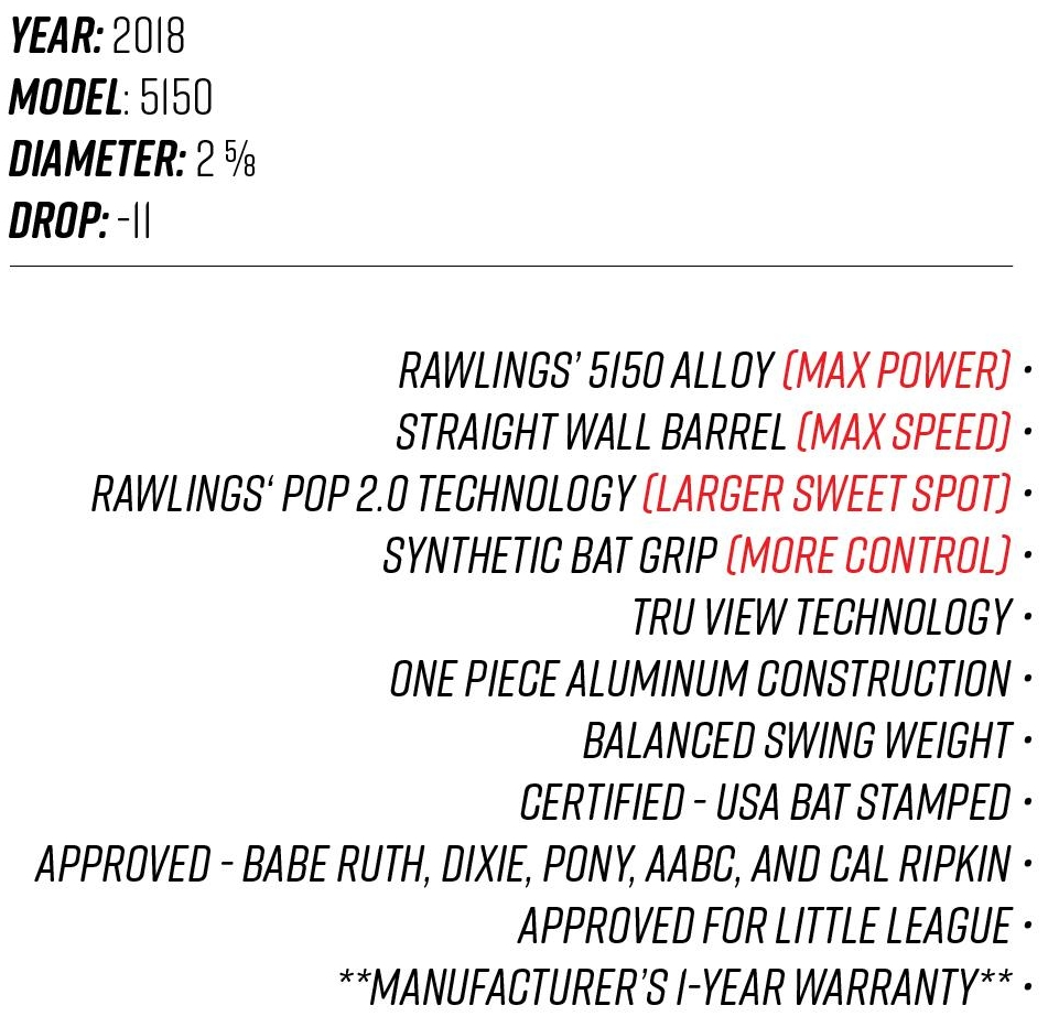 2018 Rawlings 5150 Youth USA Bat Tech Sheet