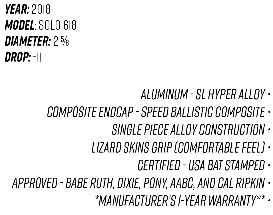 2018 Louisville Slugger Solo 618 Description