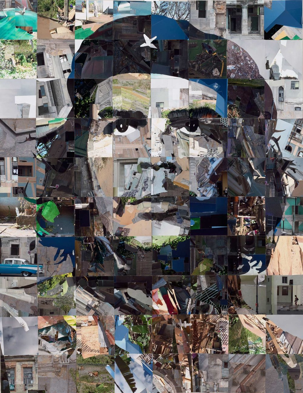 "Che Vive | Che Lives, Photo-mosaic, 42 x 54 inches, 2016 (Made up of 80 square 6x6"" photo-mosaics)"
