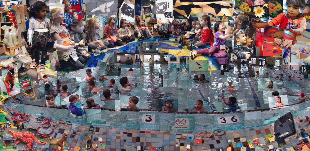 """Chilson: Children Navigating the Waters of Life,""  2018, photo-mosaic, 48x96 inches"