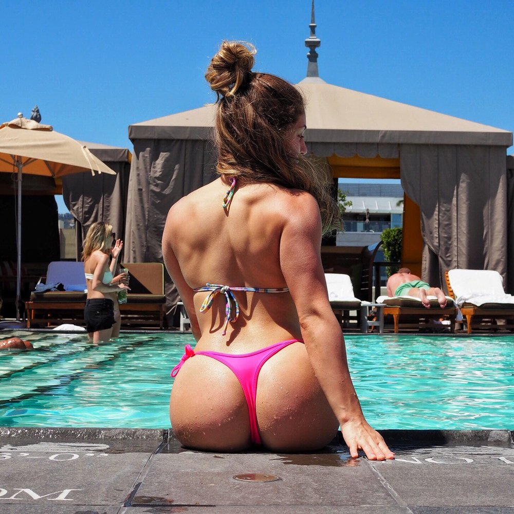 SLS Hotel Beverly Hills Rooftop Pool - SLS Beverly Hills Rooftop Pool - Bikini Top from ViX Swim by Paula Hermanny - Bottoms from Lumieres de Baia