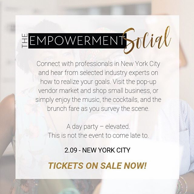 New here - well, let us explain what The Empowerment Social is even about. . . . The Empowerment Social is a networking experience where personal and professional development take center stage. . . . Learn more about what's happening in your city in an environment that fosters collaboration. Whether you're here to party or to plan your next power move, we've got you covered. . . . The Empowerment Social - A day party – elevated. This is not the event to come late to. . . . We hope to see you there in February. Click the link in our bio, or go to theempowermentsocial.com for tickets. . . . #manifestyourself #theempowermentsocial #nyc #nycevents #dayparty #professionals #fortheculture #experience #networking #blackprofessionals