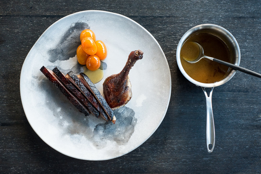 Smoked BBQ Duck, cumquats, verjuice sauce.jpg