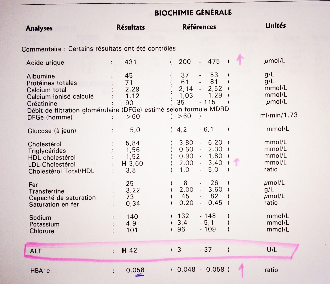 Exemple d'analyse sanguine (2)