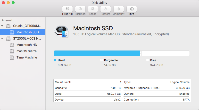 Disk Utility for OS X 10.11 El Capitan or macOS 10.12 Sierra