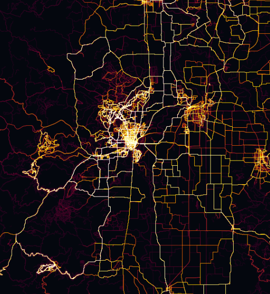 Corvallis, Oregon on the Strava Global Heat Map