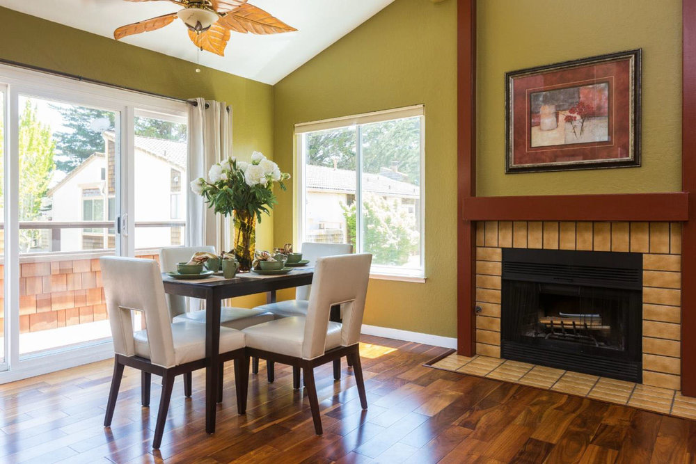 Dining Room with Fireplace Santa Cruz Real Estate