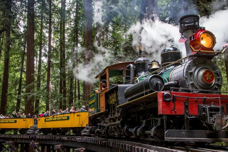 roaring camp railroads - Roaring Camp Railroads in Felton is one of the great attractions of San Lorenzo Valley. The passenger trains on the narrow gauge railroad give visitors the opportunity to ride on an authentic steam train through the redwood trees around Bear Mountain and back to Roaring Camp. There's also a Santa Cruz Beach Train route that takes visitors to the Santa Cruz Beach Boardwalk. In addition to the train station, Roaring Camp also has recreation areas, a restaurant, and is very near to Henry Cowell Redwoods State Park.